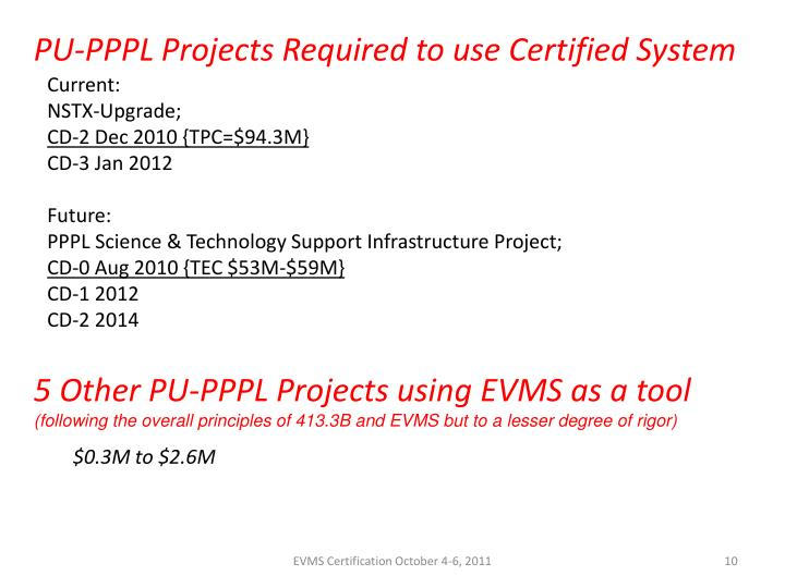 PU-PPPL Projects Required to use Certified System