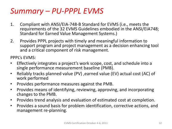 Summary – PU-PPPL EVMS