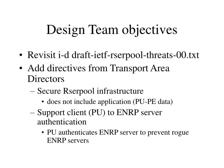 Design team objectives