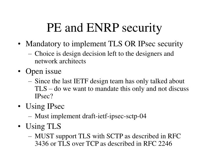 Pe and enrp security