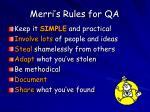 merri s rules for qa