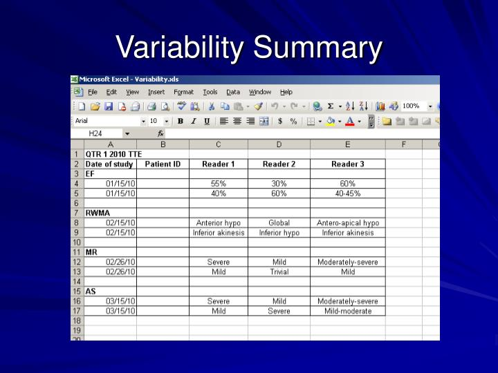 Variability Summary