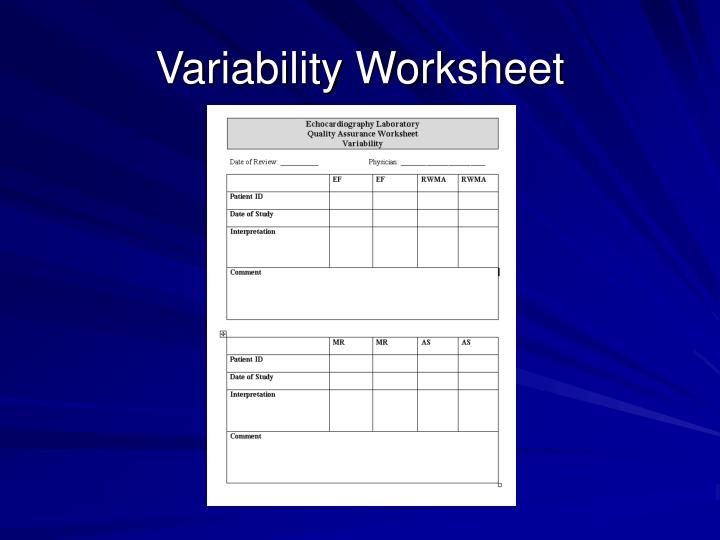 Variability Worksheet
