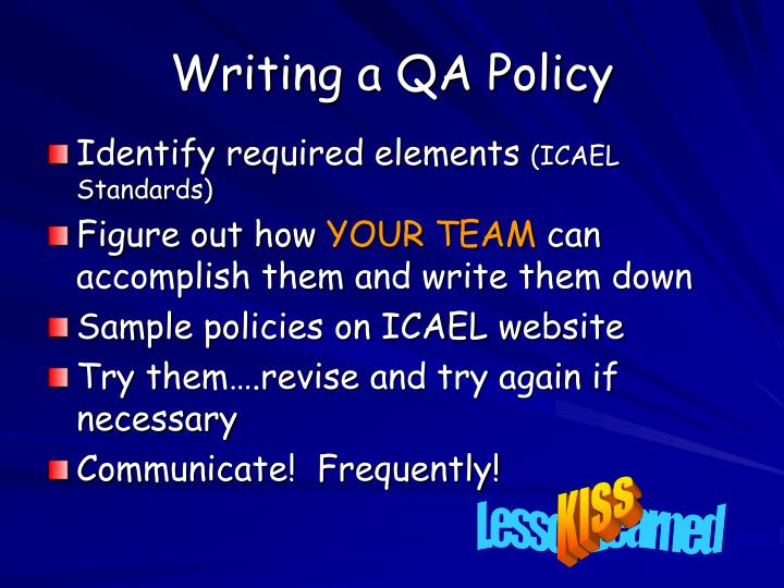 Writing a QA Policy