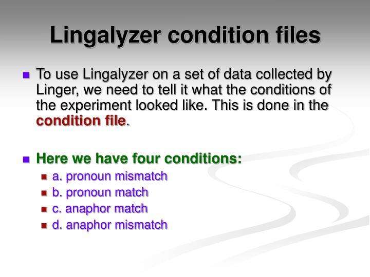 Lingalyzer condition files