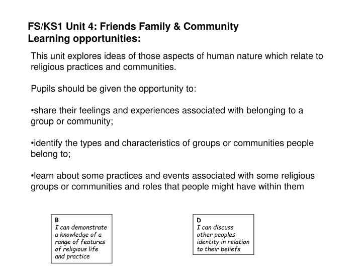 FS/KS1 Unit 4: Friends Family & Community
