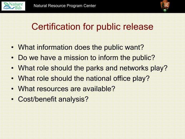 Certification for public release
