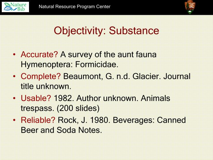 Objectivity: Substance