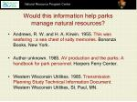 would this information help parks manage natural resources