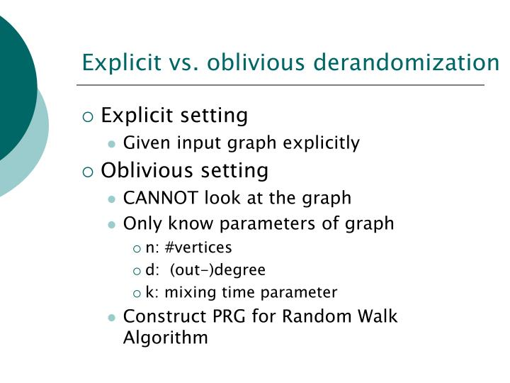 Explicit vs. oblivious derandomization