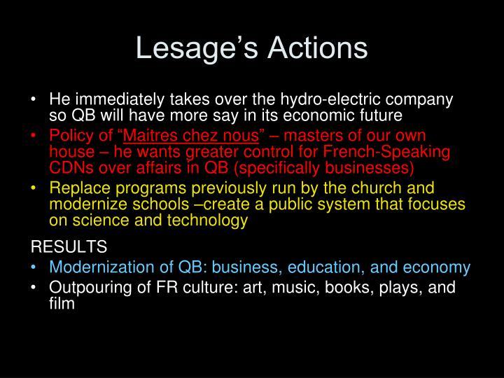 Lesage's Actions
