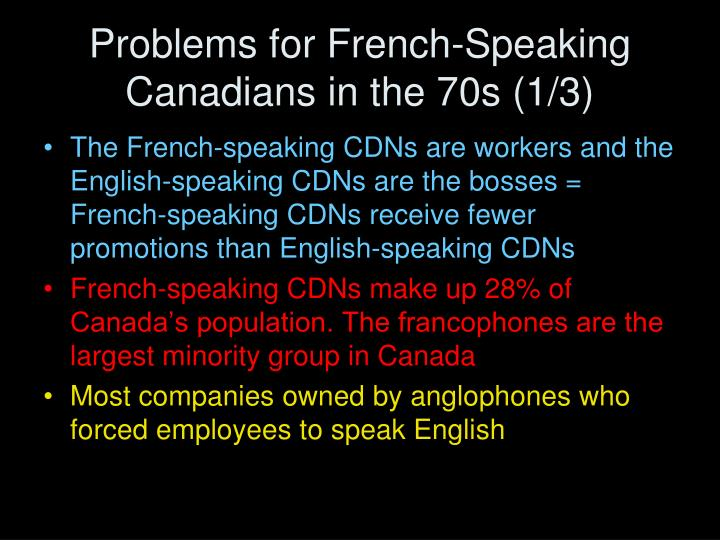Problems for French-Speaking Canadians in the 70s (1/3)