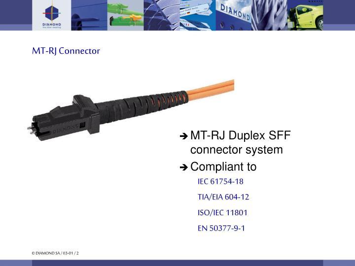 MT-RJ Duplex SFF connector system