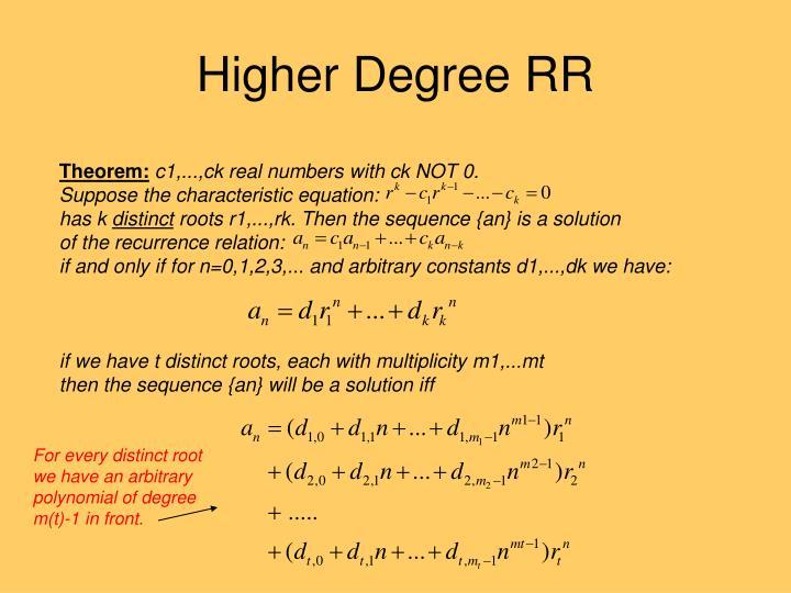 Higher Degree RR
