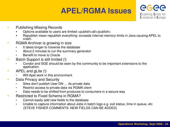 APEL/RGMA Issues