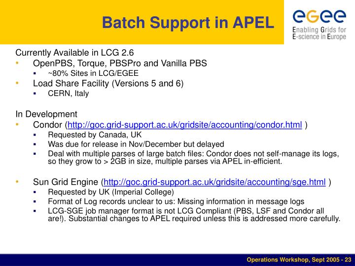 Batch Support in APEL