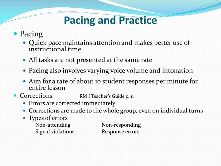 Pacing and Practice