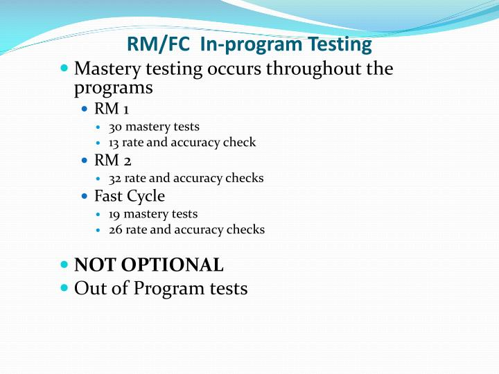 RM/FC  In-program Testing