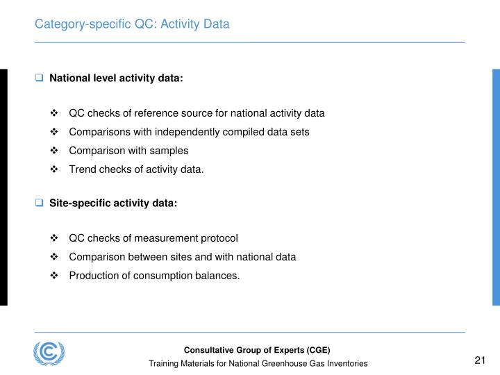 Category-specific QC: Activity Data
