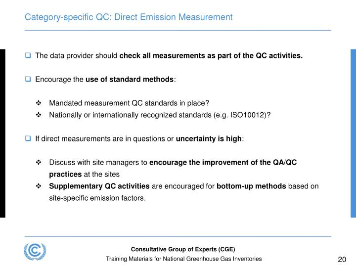 Category-specific QC: Direct Emission Measurement