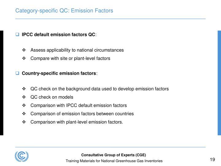 Category-specific QC: Emission Factors