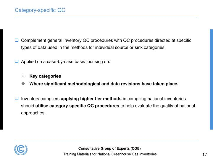 Category-specific QC