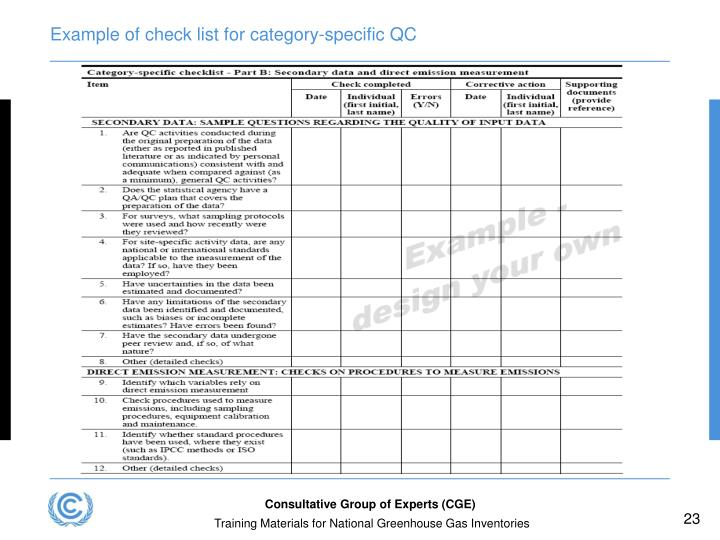 Example of check list for category-specific QC