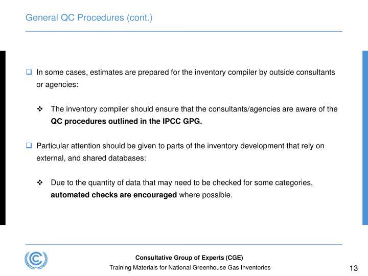 General QC Procedures (cont.)