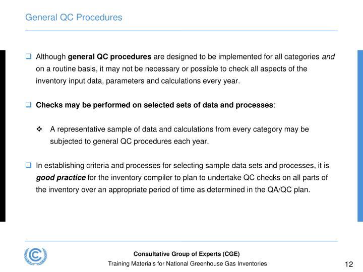General QC Procedures