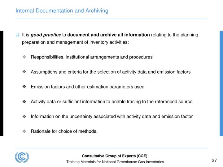 Internal Documentation and Archiving