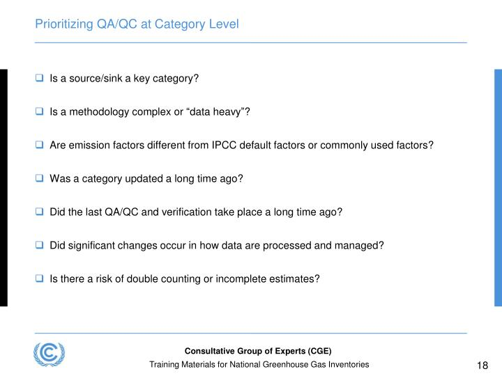 Prioritizing QA/QC at Category Level