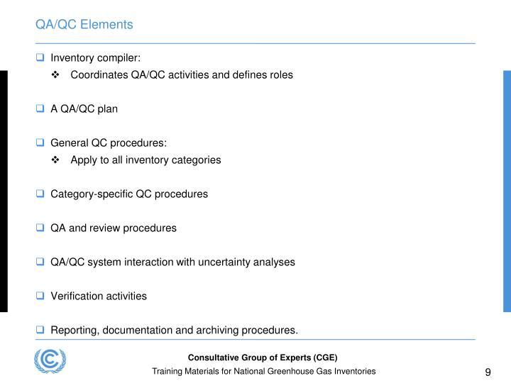 QA/QC Elements