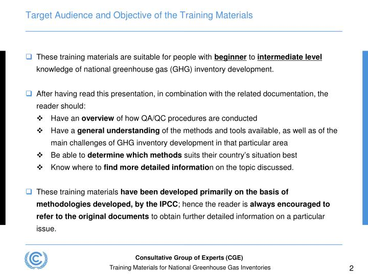 Target audience and objective of the training materials