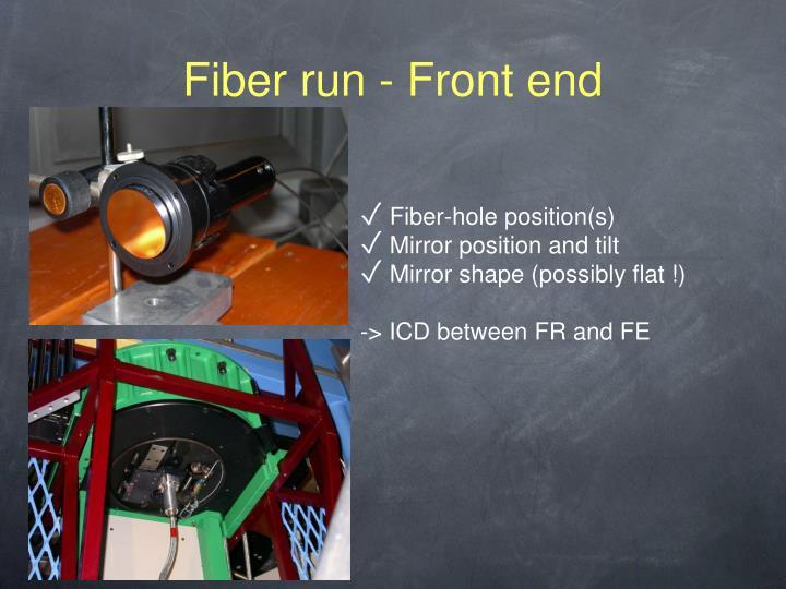 Fiber run - Front end