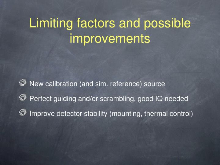 Limiting factors and possible improvements
