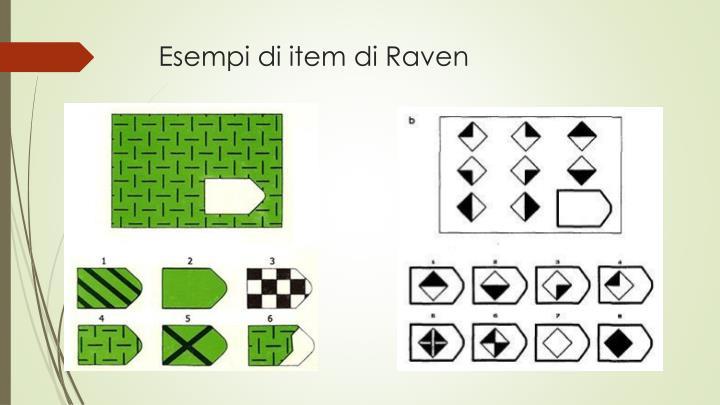 Esempi di item di Raven