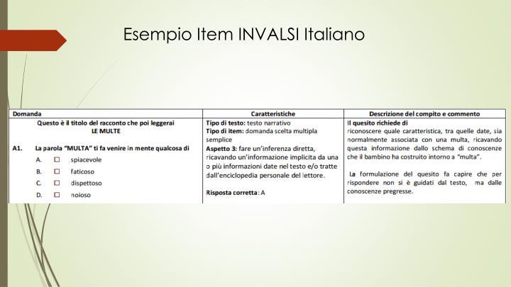 Esempio Item INVALSI Italiano