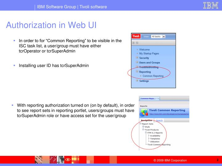 Authorization in web ui