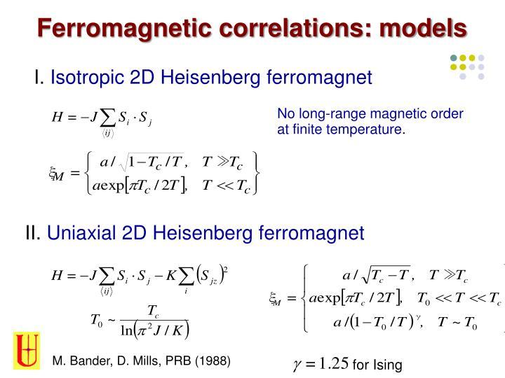 Ferromagnetic correlations: models