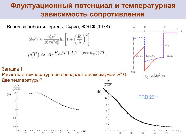 Флуктуационный потенциал и температурная зависимость сопротивления