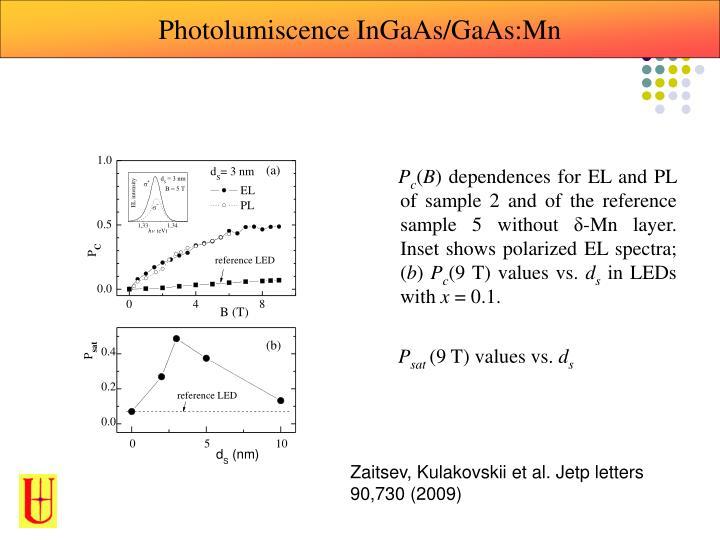 Photolumiscence InGaAs/GaAs:Mn