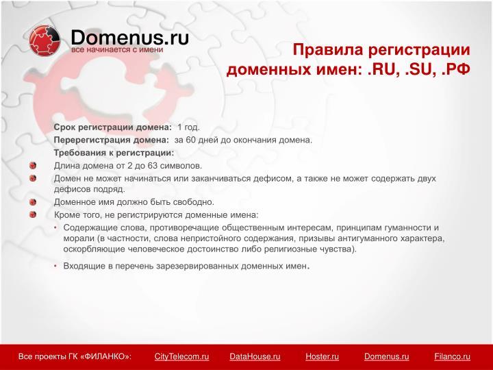 Правила регистрации доменных имен: .