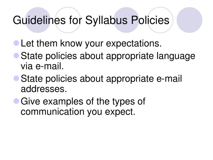 Guidelines for Syllabus Policies