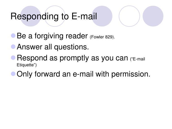 Responding to E-mail