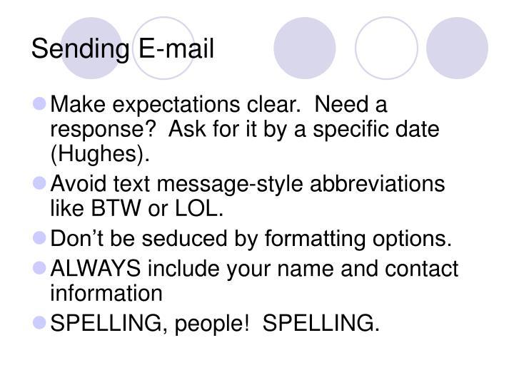 Sending E-mail