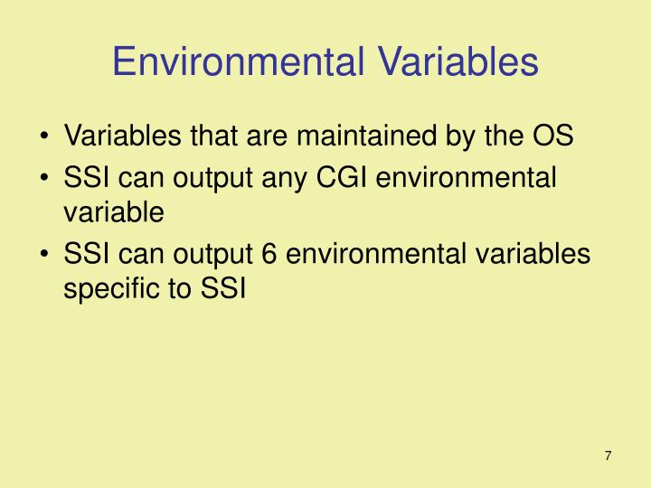 Environmental Variables
