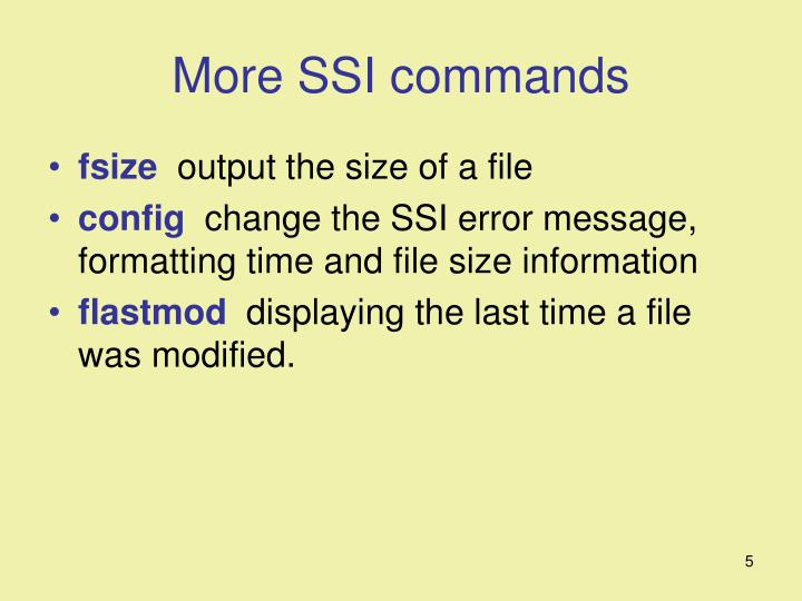 More SSI commands