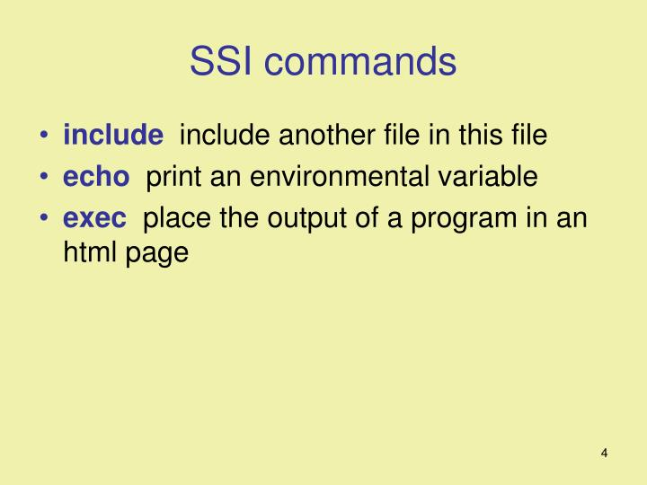 SSI commands