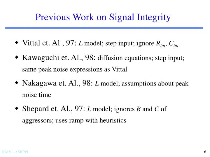 Previous Work on Signal Integrity