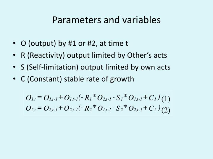 Parameters and variables